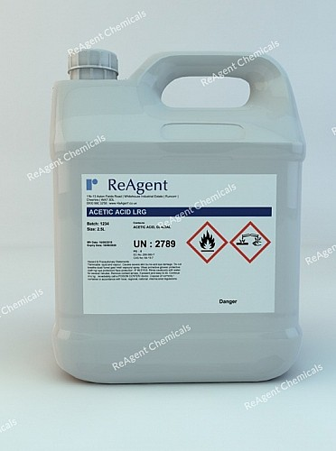 An image showing Acetic Acid Glacial (Laboratory Use) in a 2.5litre container