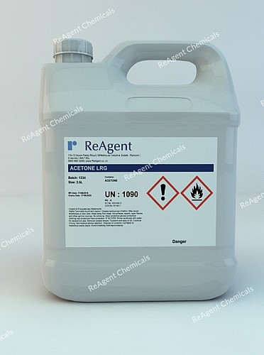 An image showing Acetone (Laboratory Use) in a 2.5litre container