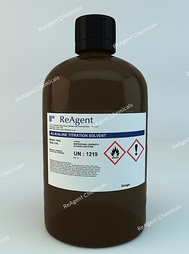 An image showing Alkaline Titration Solvent in a 2.5litre container