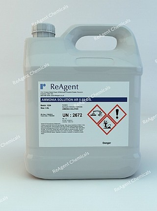 An image showing Ammonia Solution AR 0.89 SG in a 2.5litre container