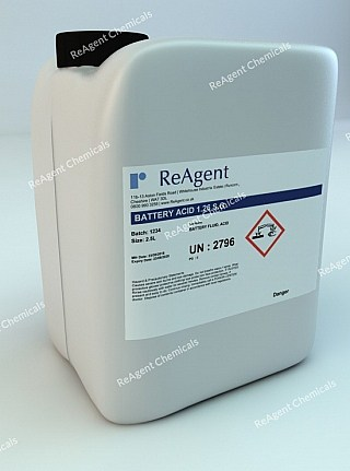 An image showing Battery Acid in a 2.5litre container