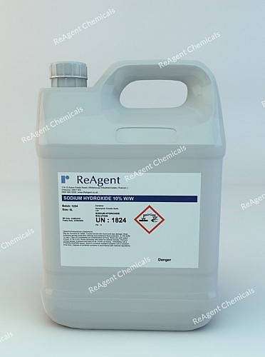 An image showing Caustic Soda 10% w/w in a 5 litre container