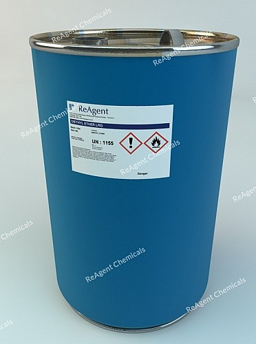 An image showing Diethyl Ether in a 25 litre container