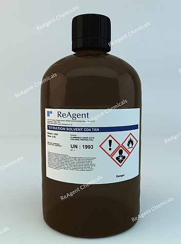 An image showing Titration Solvent (CD4 TAN) in a 2.5litre container