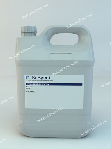 An image showing HNB Analyser Solution 1% w/v in a 5 litre container
