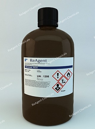 An image showing Hexane (C6H14) in a 2.5litre container