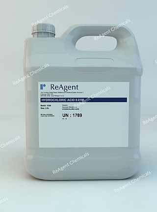 An image showing Hydrochloric Acid 0.01M in a 2.5litre container