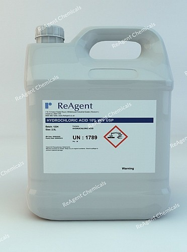 An image showing Hydrochloric Acid 10% w/v USP in a 2.5litre container