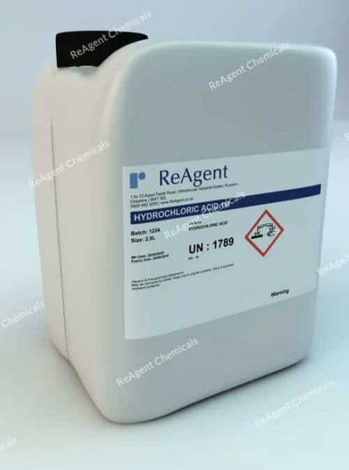 An image showing Hydrochloric Acid 1M (1N) in a 2.5litre container