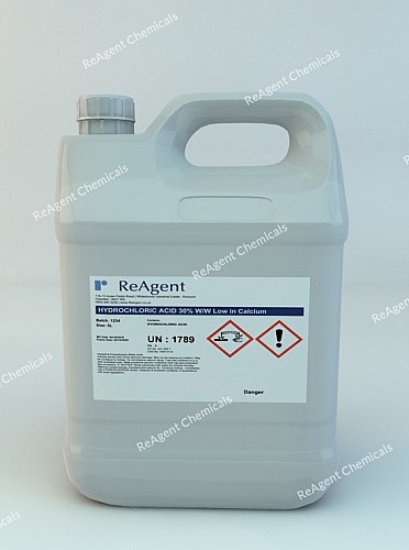 An image showing Hydrochloric Acid 30% w/w low in calcium in a 5 litre container