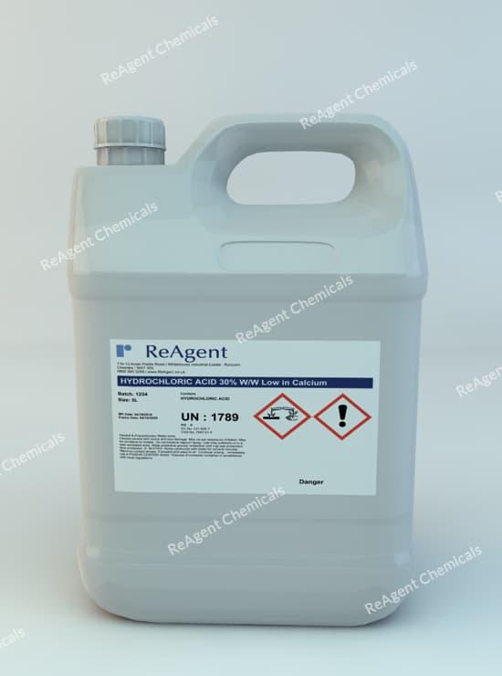 Hydrochloric Acid 30% ww low in calcium 5L packsize