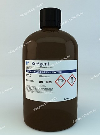 An image showing Hydrochloric Acid (Laboratory Use) in a 2.5litre container