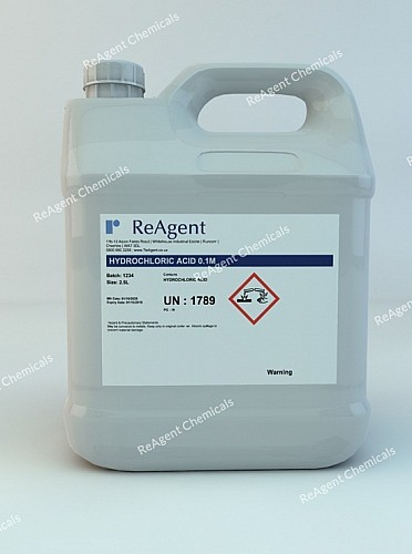 An image showing Muriatic Acid 0.1M (0.1N) in a 2.5litre container