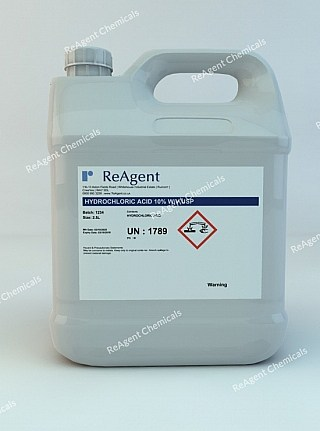 An image showing Muriatic Acid 10% w/v USP in a 2.5litre container