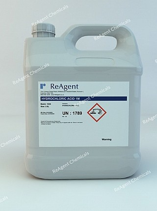 An image showing Muriatic Acid 1M (1N) in a 2.5litre container