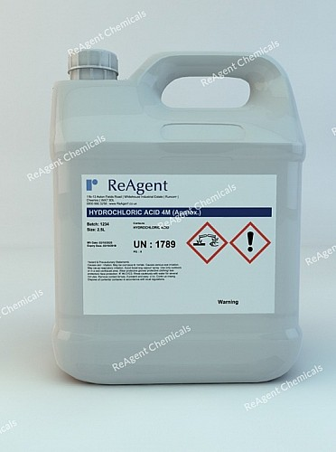 An image showing Muriatic Acid 4M (approx) in a 2.5litre container