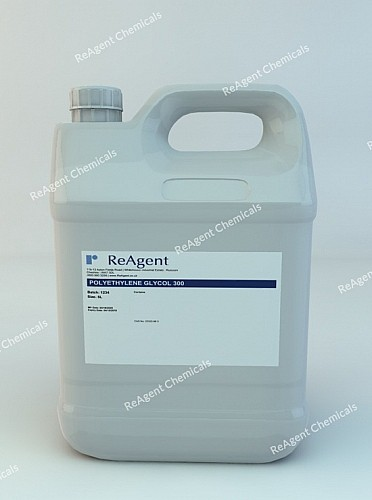 An image showing Polyethylene Glycol 300 (PEG 300) in a 5 litre container