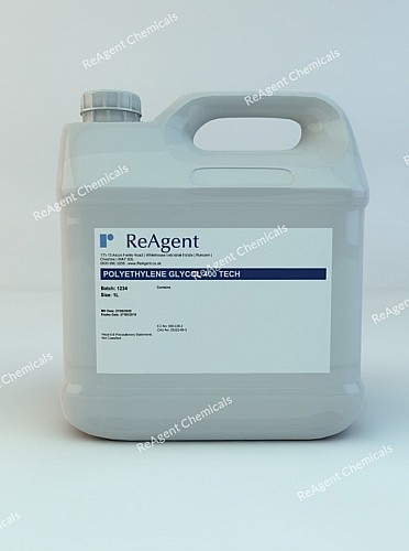 An image showing Polyethylene Glycol 400 (PEG 400) in a 1 litre container