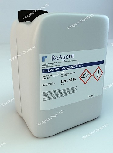 An image showing Potassium Hydroxide 36% w/v in a 2.5litre container