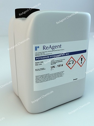 An image showing Potassium Hydroxide 60% w/v in a 2.5litre container