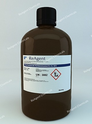 An image showing Potassium Permanganate 5% w/v in a 2.5litre container