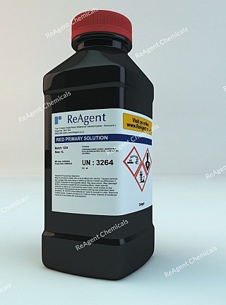 An image showing Red Colour Primary Solution to BP A46 in a 1 litre container