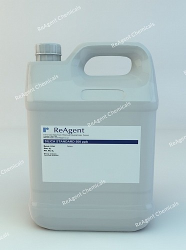 An image showing Silica Standard 500ppb in a 5 litre container