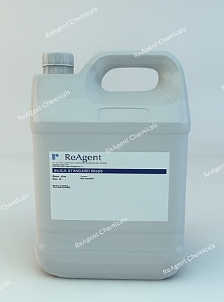 An image showing Silica Standard 80ppb in a 5 litre container