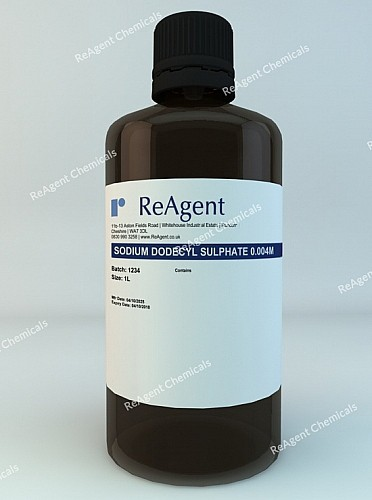 An image showing Sodium Dodecyl Sulphate in a 1 litre container