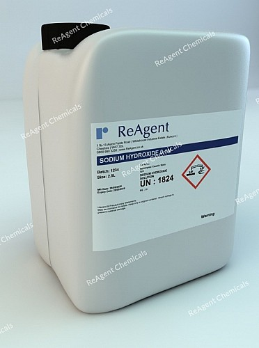 An image showing Sodium Hydroxide 0.1M (0.1N) in a 2.5litre container