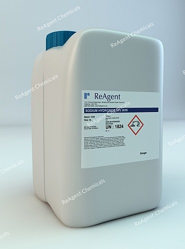 An image showing Sodium Hydroxide 10% w/w in a 5 litre container