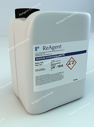 An image showing Sodium Hydroxide 1M (1N) in a 2.5litre container