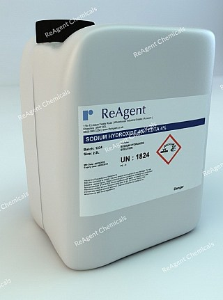 An image showing Sodium Hydroxide 4% / EDTA 4% in a 2.5litre container