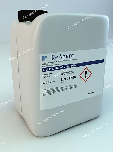 An image showing Sulphuric Acid 1M (2N) in a 2.5litre container