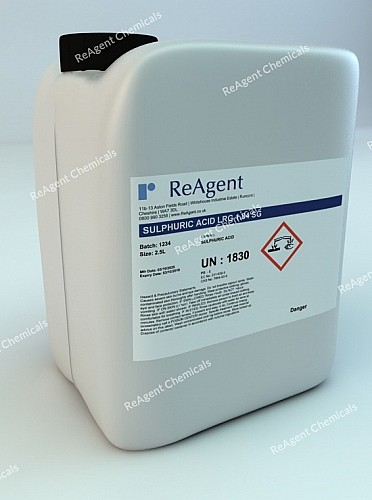 An image showing Sulphuric Acid (Laboratory Use) in a 2.5litre container