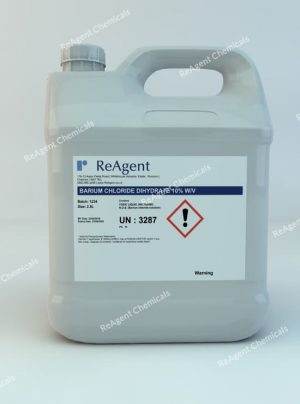 An image showing Barium Chloride Dihydrate 10% w/v in a 2.5litre container