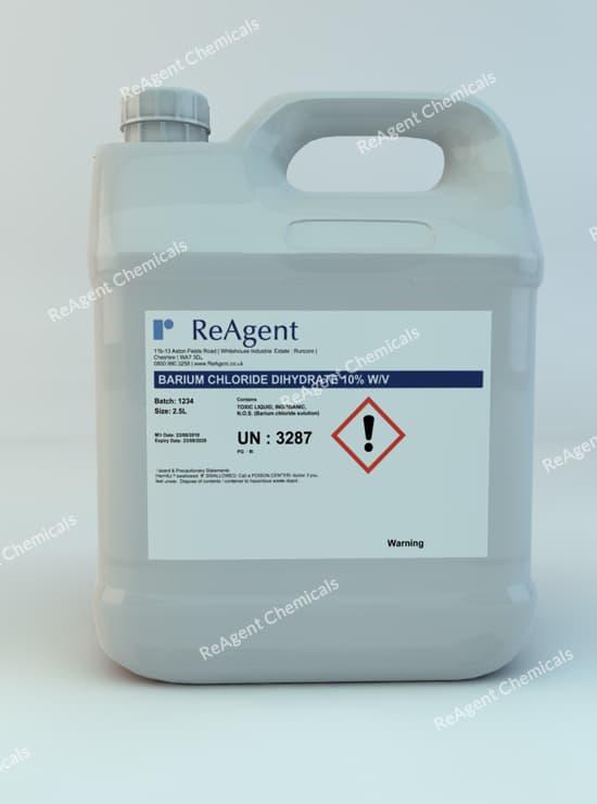 Barium Chloride Dihydrate 10% wv 2.5L packsize