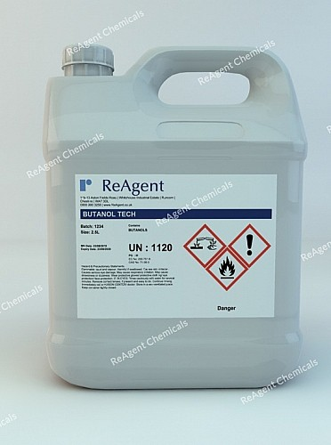 An image showing Butanol (C4H10O) in a 2.5litre container