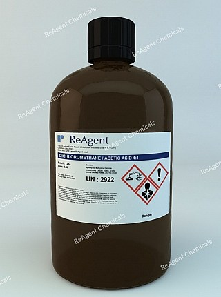 An image showing Dichloromethane/Acetic Acid 4:1 in a 2.5litre container