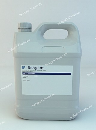 An image showing EDTA 0.0005M Analyser Solution for Applikon Calcium Analyser in a 5 litre container