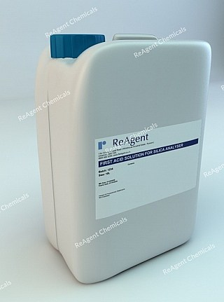 An image showing First Acid Analyser Solution in a 10l container