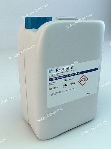 An image showing Hydrochloric Acid AR 2% v/v in a 10l container