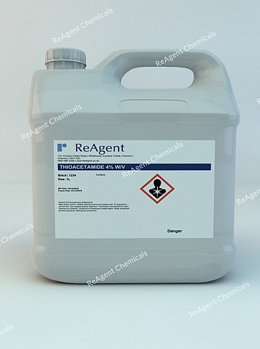 An image showing Thioacetamide in a 1 litre container