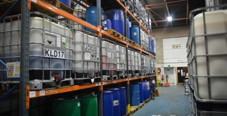 Factory with shelves of IBCs