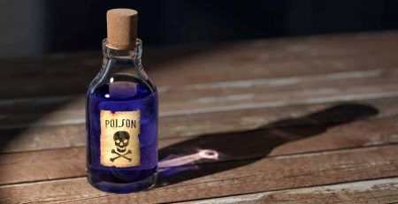 A purple vial with a poison label on it