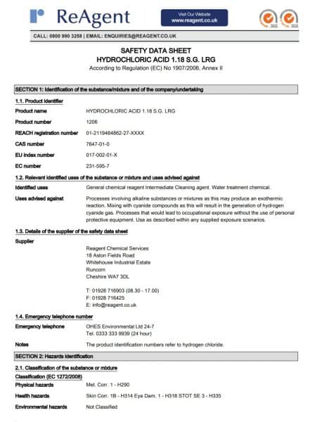Example of an MSDS