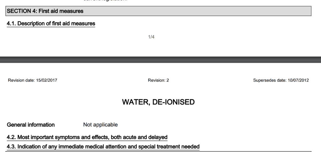 Section 4 of a deionised water material safety data sheet