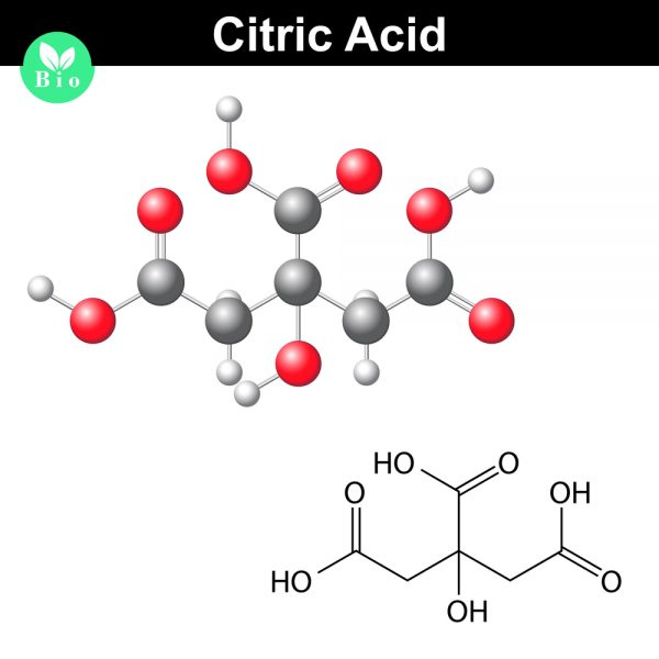 The citric acid molecule, citrate, and chemical formula