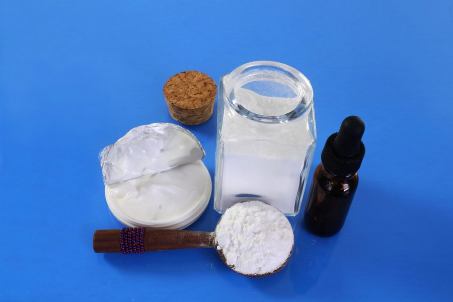 Boric acid powder, boric cream and a boric acid drops bottle