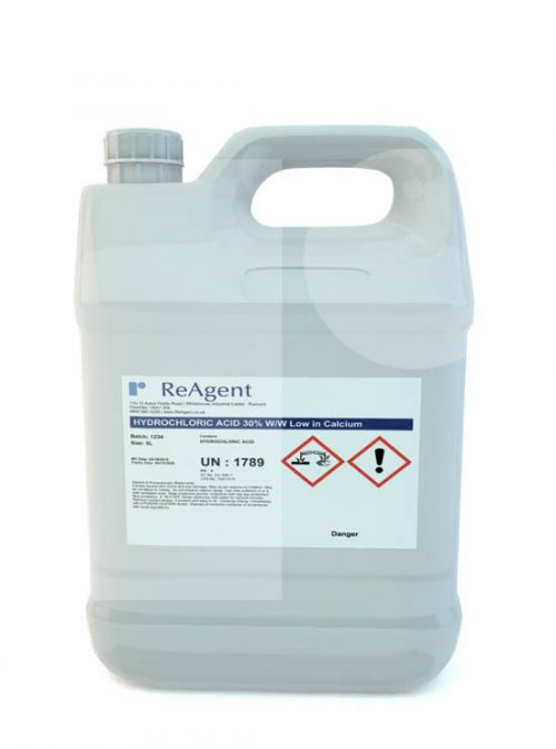 Hydrochloric Acid 30 ww low in calcium 5L packsize